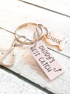 Personalized Best Catch Hook and Fish Keychain Gift