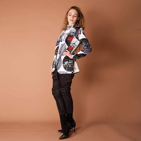 womens relaxed graphic blazer