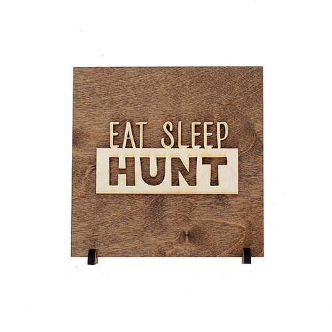 Image of Eat Sleep Hunt Sign - Rustic Wall Plaque