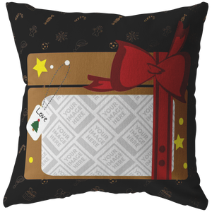 Personalized Photo Holiday Gift Box Pillow