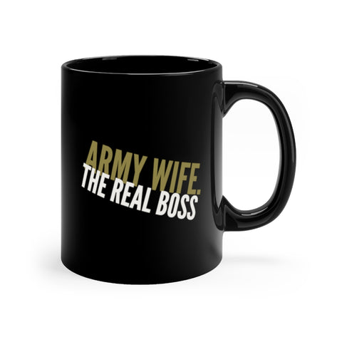 army wife real boss black mug
