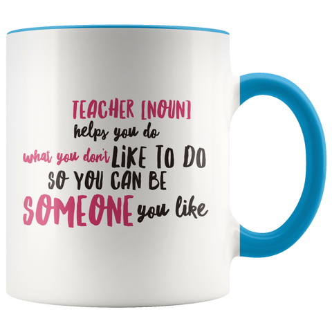 teacher appreciation custom white mug blue handle