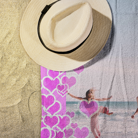 Image of photo beach towel pink hearts