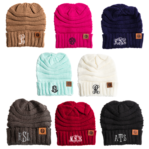 Image of monogram slouch knit cap 8 colors