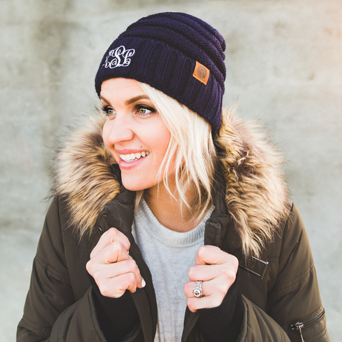 Image of monogram slouch knit cap