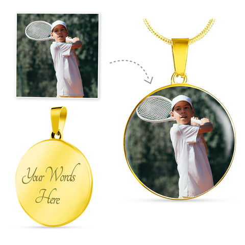 Image of Gold Photo Necklace Add Inscription