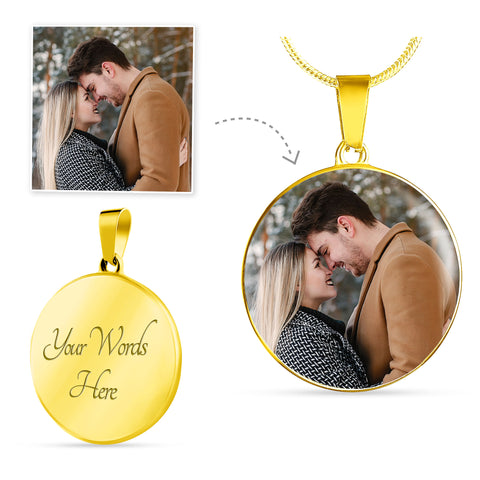 Gold Photo Circle Necklace Add Inscription