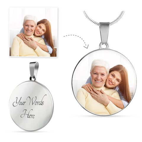 Round Silver Photo Necklace Mother's Day Add Inscription