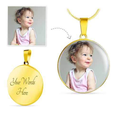 Image of Round Gold Photo Necklace Add Inscription