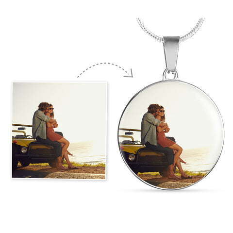 Round Silver Photo Necklace Add Inscription