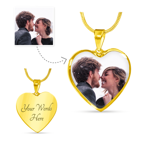 gold heart photo necklace add message