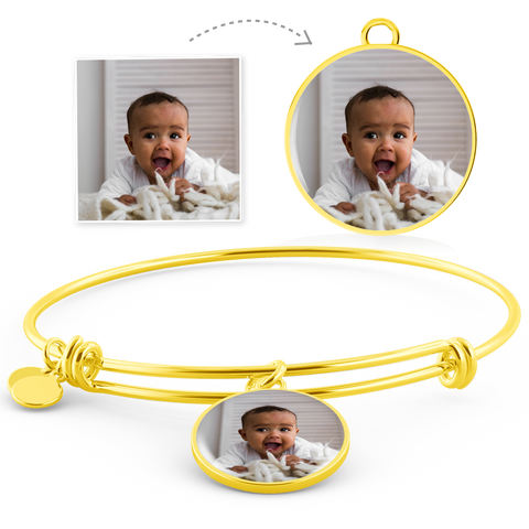 Image of gold circle photo bracelet