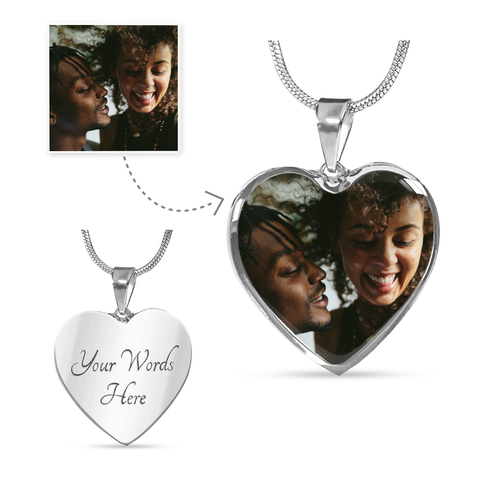 silver heart photo necklace add message