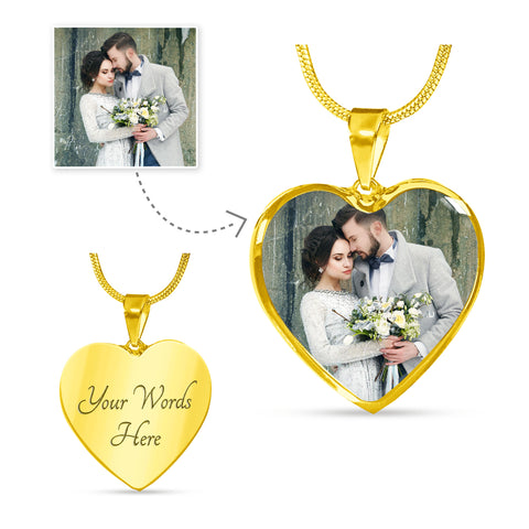 Photo Heart Shape Gold Necklace