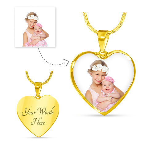 Image of Photo Heart Shape Gold Inscription Necklace
