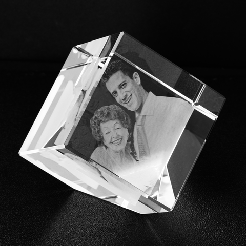 Image of etched photo crystal cube memorial