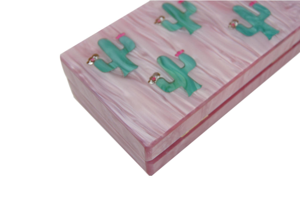 Blooming Cactus Acrylic Box Clutch Purse
