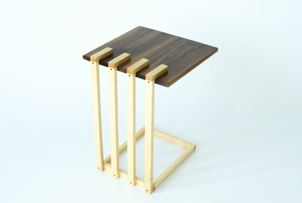Walnut and Maple Floating Side Table