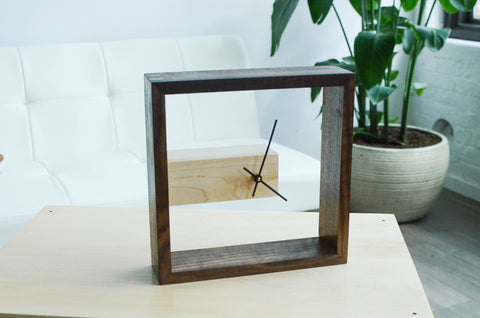 Image of modern wood clock wall or desk