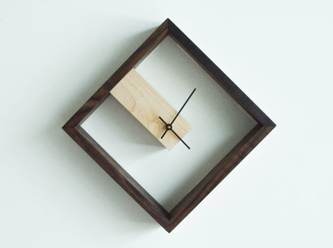 modern maple and walnut clock