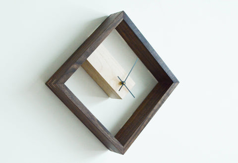 Image of walnut and maple clock