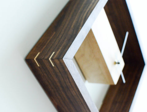 Image of maple and walnut modern clock
