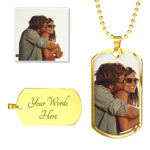 Image of necklace add photo inscription gold