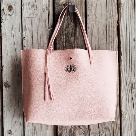 Image of vegan leather monogrammed pink