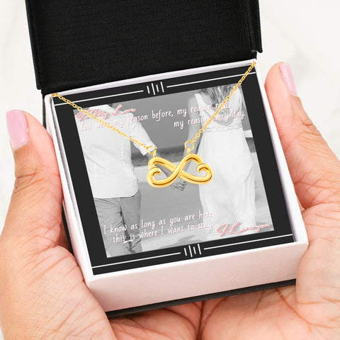 Image of Personalized Photo Message Card and Infinity Necklace-My Reason