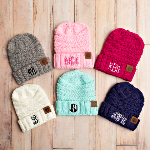 Monogrammed Kids Knit Caps 6 Colors