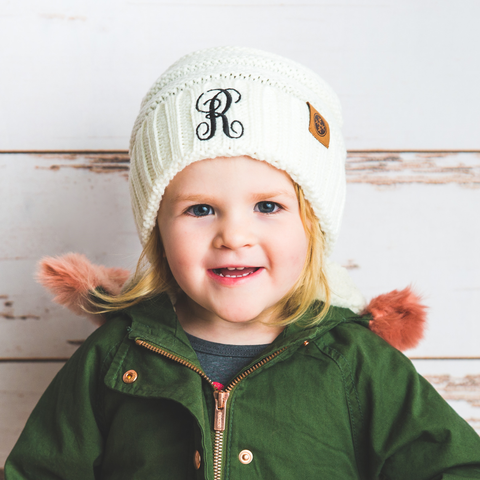 monogrammed kids cream white knit beanie