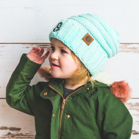 monogrammed kids mint knit beanie