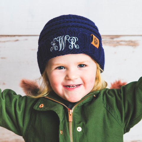 monogrammed kids navy blue knit beanie