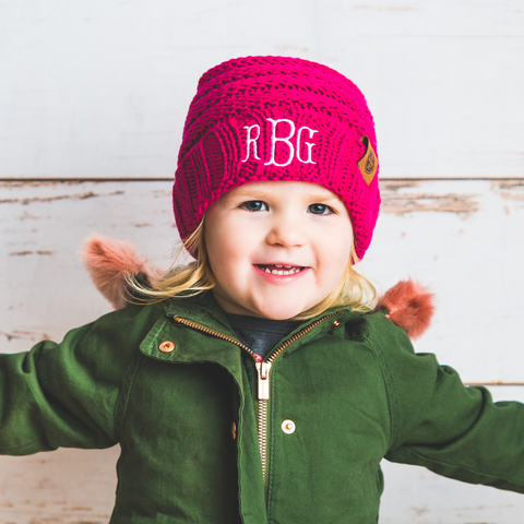 Image of monogrammed kids rose pink knit beanie