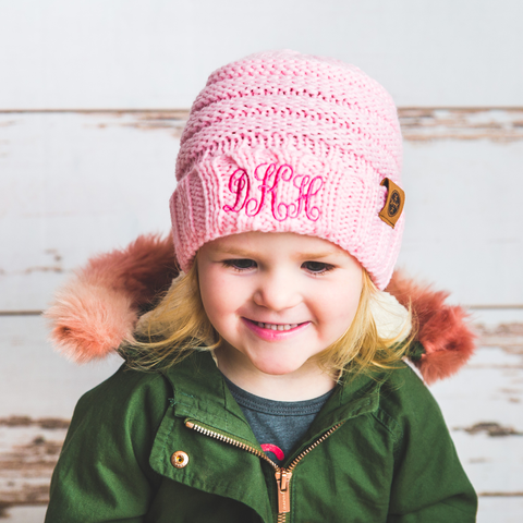 Image of monogrammed kids pink knit beanie