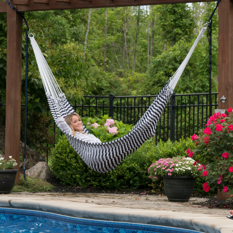 Image of Navy & White Striped Hammock for Two