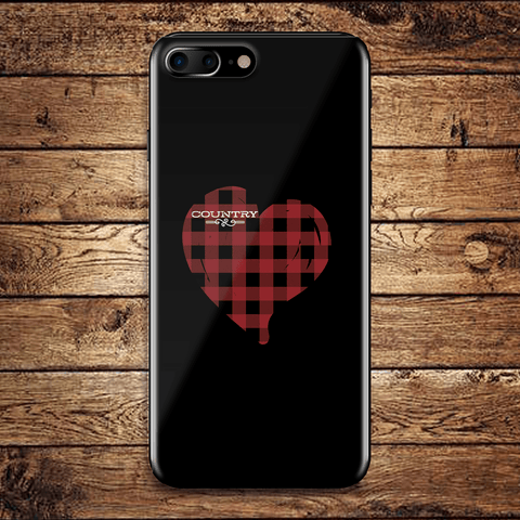 Image of Country Lovers Red Plaid Heart Phone Case