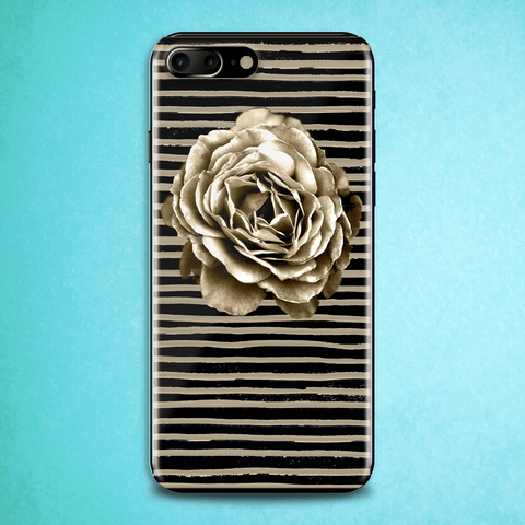 Sepia Rose Striped Art Phone Case