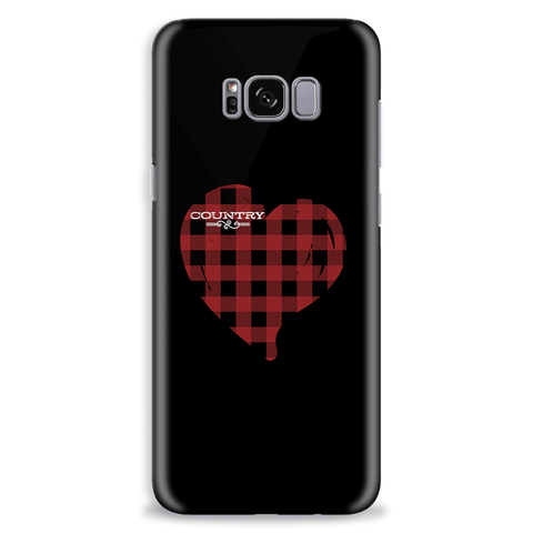 Love Country Red Plaid Heart Mobile Phone Cover