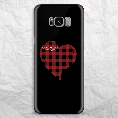 Country Lovers Red Plaid Heart Phone Case