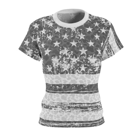 Image of american flag camo allover print t shirt ghost mockup