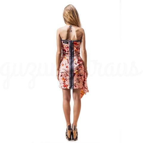 asymmetric hem strapless floral dress back