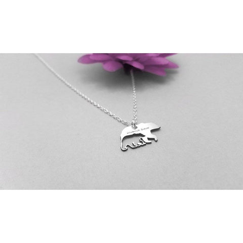Mama Bear Baby Bear Silver Chain Necklace