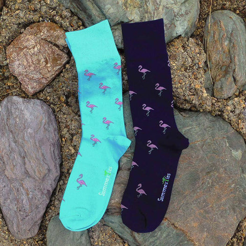 Flamingo Socks - Men's Mid Calf - Pink on Aqua Blue