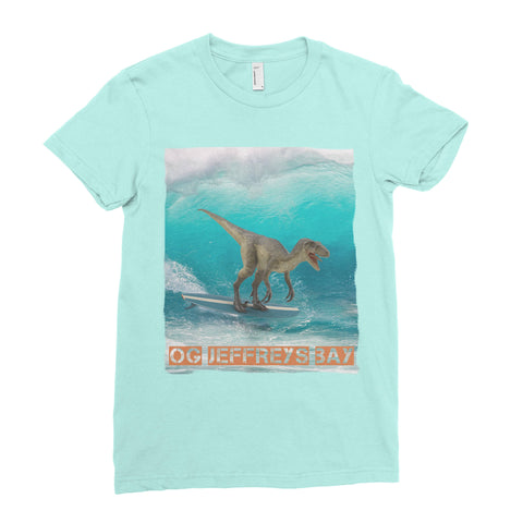 Image of dinosaur surfing t-shirt
