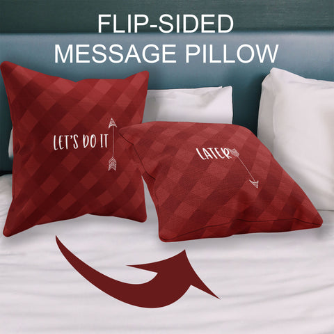 Image of flip sided couples message pillow