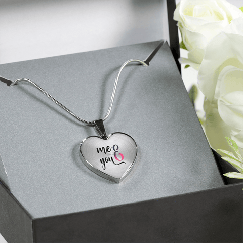 Image of You and Me Heart Necklace Add Engraving Gift Box