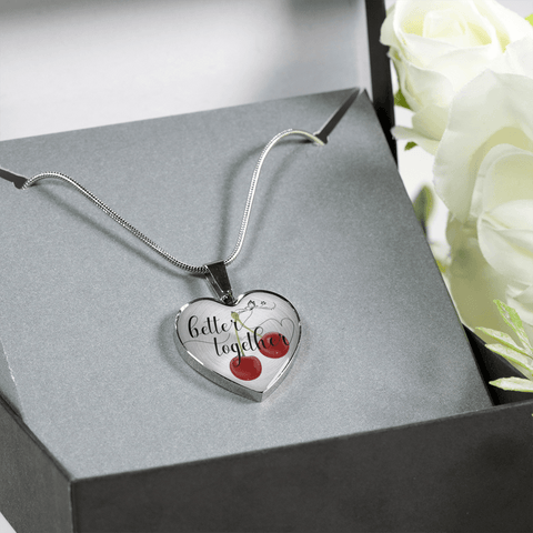 Heart shape better together 2 cherries silver necklace gift box