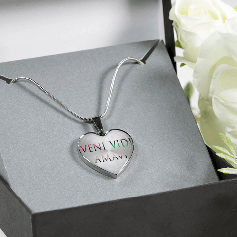 veni vidi amavi we came we saw we loved heart necklace couples lovers gift