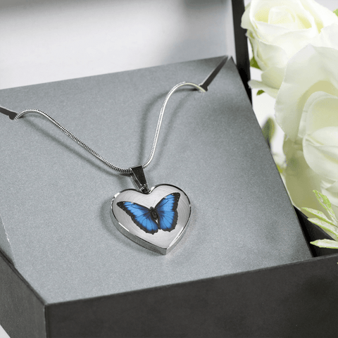 Image of Blue Butterfly Heart Shape Bracelet or Necklace